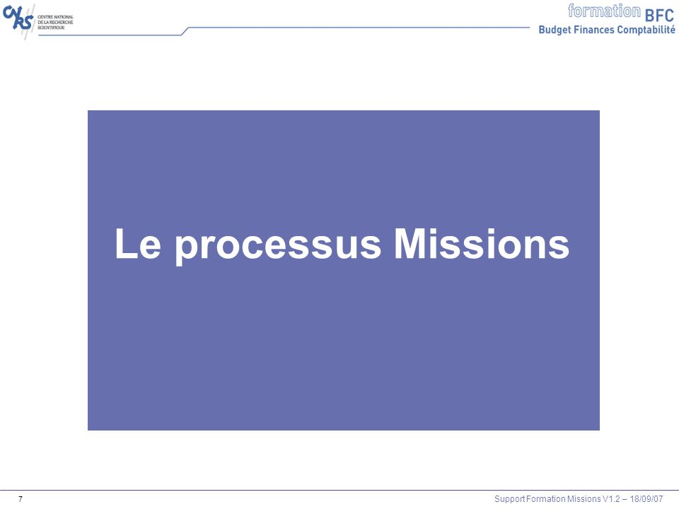 Support Formation Missions V1.2 – 18/09/07 7 Le pro Le processus Missions