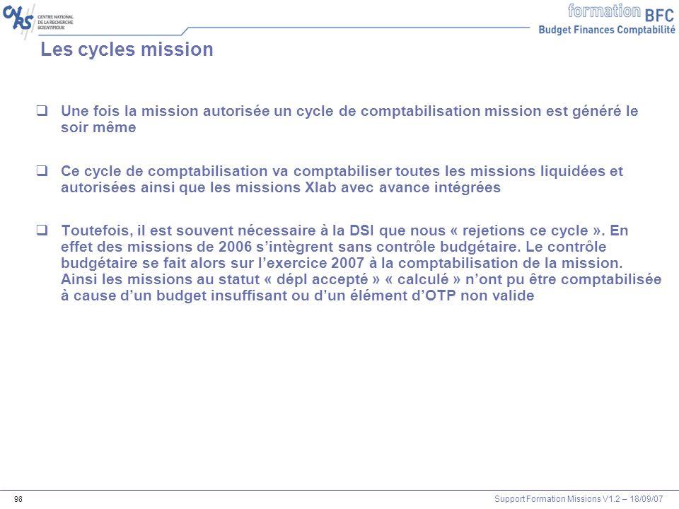 Support Formation Missions V1.2 – 18/09/07 98 Les cycles mission Une fois la mission autorisée un cycle de comptabilisation mission est généré le soir
