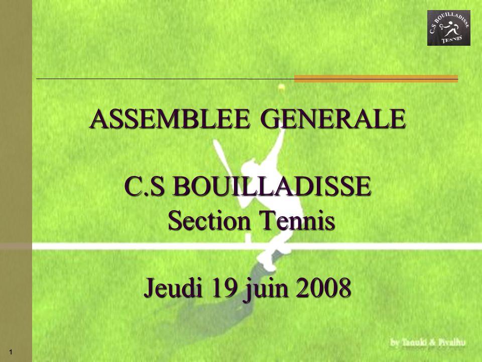 1 ASSEMBLEE GENERALE C.S BOUILLADISSE Section Tennis Jeudi 19 juin 2008