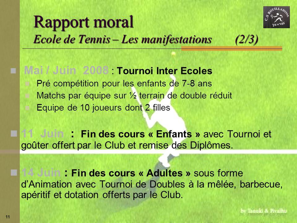 11 Rapport moral Ecole de Tennis – Les manifestations (2/3) Mai / Juin 2008 : Tournoi Inter Ecoles Pré compétition pour les enfants de 7-8 ans Matchs