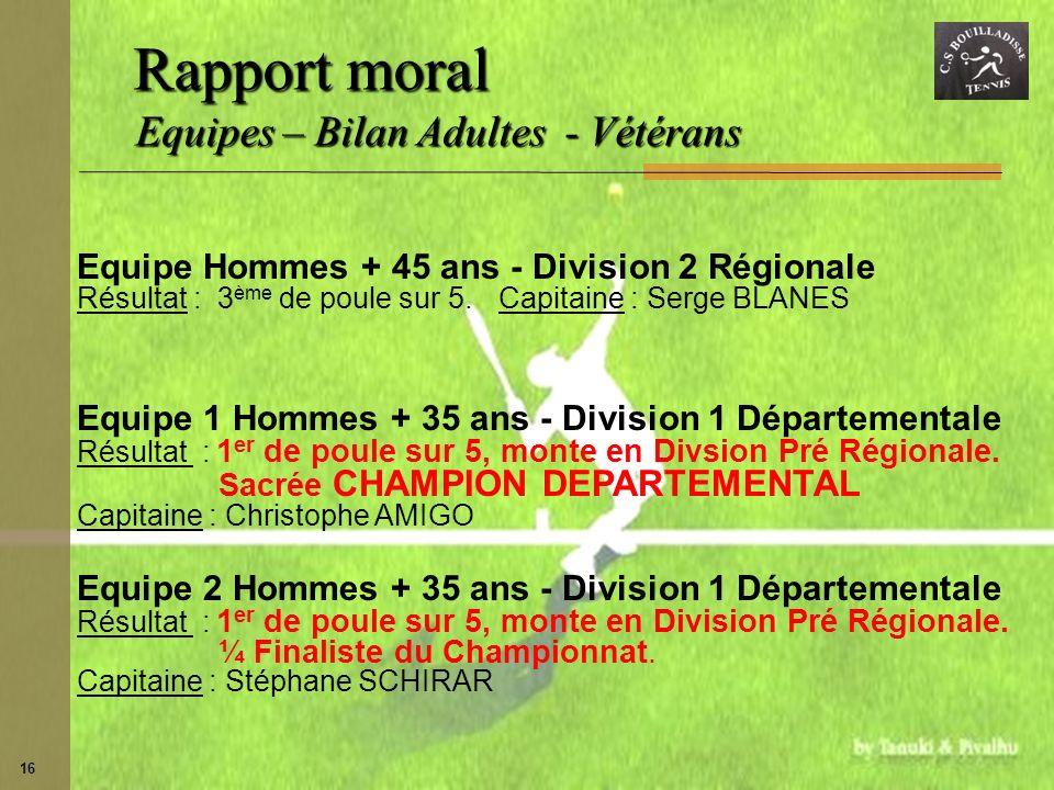 16 Equipe Hommes + 45 ans - Division 2 Régionale Résultat : 3 ème de poule sur 5.Capitaine : Serge BLANES Equipe 1 Hommes + 35 ans - Division 1 Départ