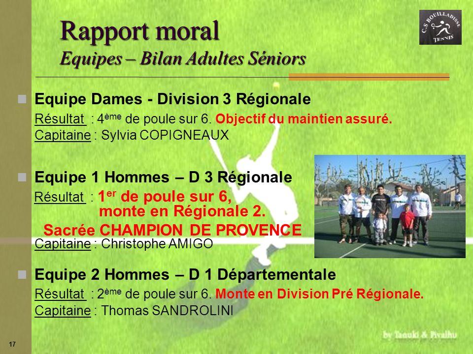 17 Rapport moral Equipes – Bilan Adultes Séniors Equipe Dames - Division 3 Régionale Résultat : 4 ème de poule sur 6. Objectif du maintien assuré. Cap