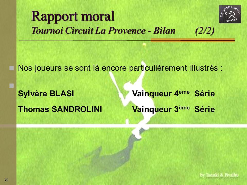 20 Nos joueurs se sont là encore particulièrement illustrés : Sylvère BLASIVainqueur 4 ème Série Thomas SANDROLINIVainqueur 3 ème Série Rapport moral