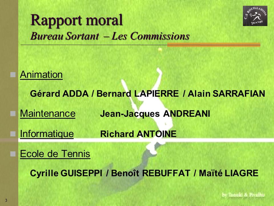 3 Rapport moral Bureau Sortant – Les Commissions Animation Gérard ADDA / Bernard LAPIERRE / Alain SARRAFIAN Maintenance Jean-Jacques ANDREANI Informat