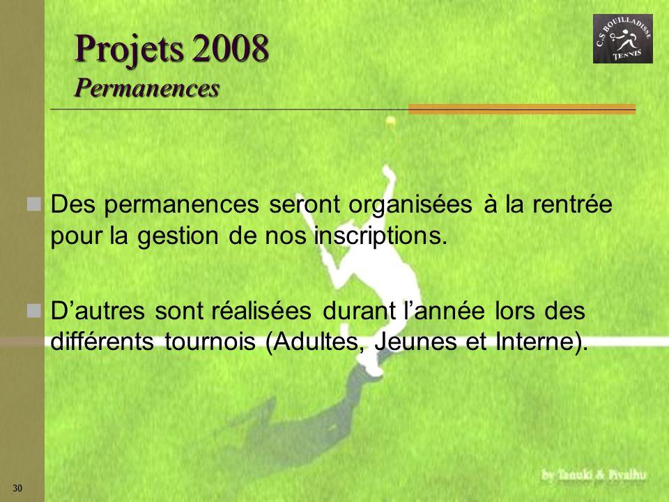 30 Projets 2008 Permanences Des permanences seront organisées à la rentrée pour la gestion de nos inscriptions. Dautres sont réalisées durant lannée l