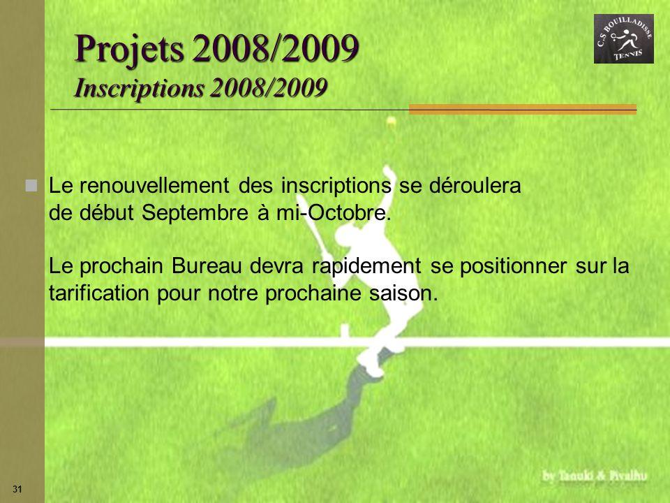 31 Projets 2008/2009 Inscriptions 2008/2009 Le renouvellement des inscriptions se déroulera de début Septembre à mi-Octobre. Le prochain Bureau devra