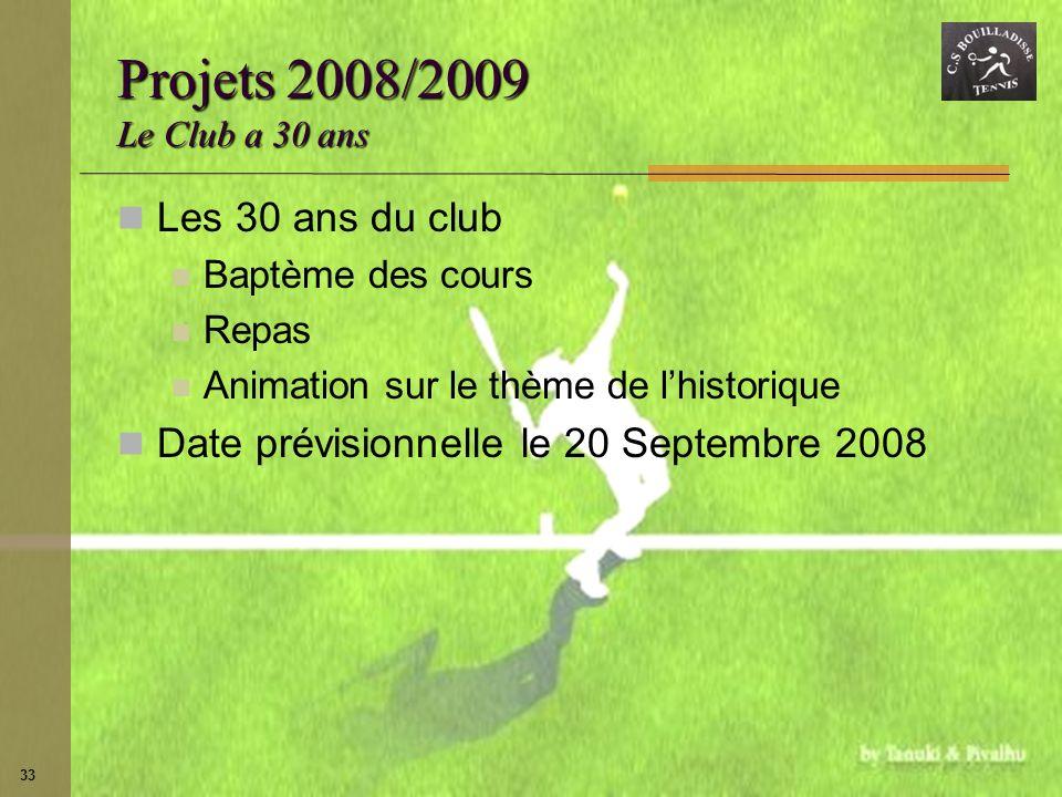 33 Projets 2008/2009 Le Club a 30 ans Les 30 ans du club Baptème des cours Repas Animation sur le thème de lhistorique Date prévisionnelle le 20 Septe