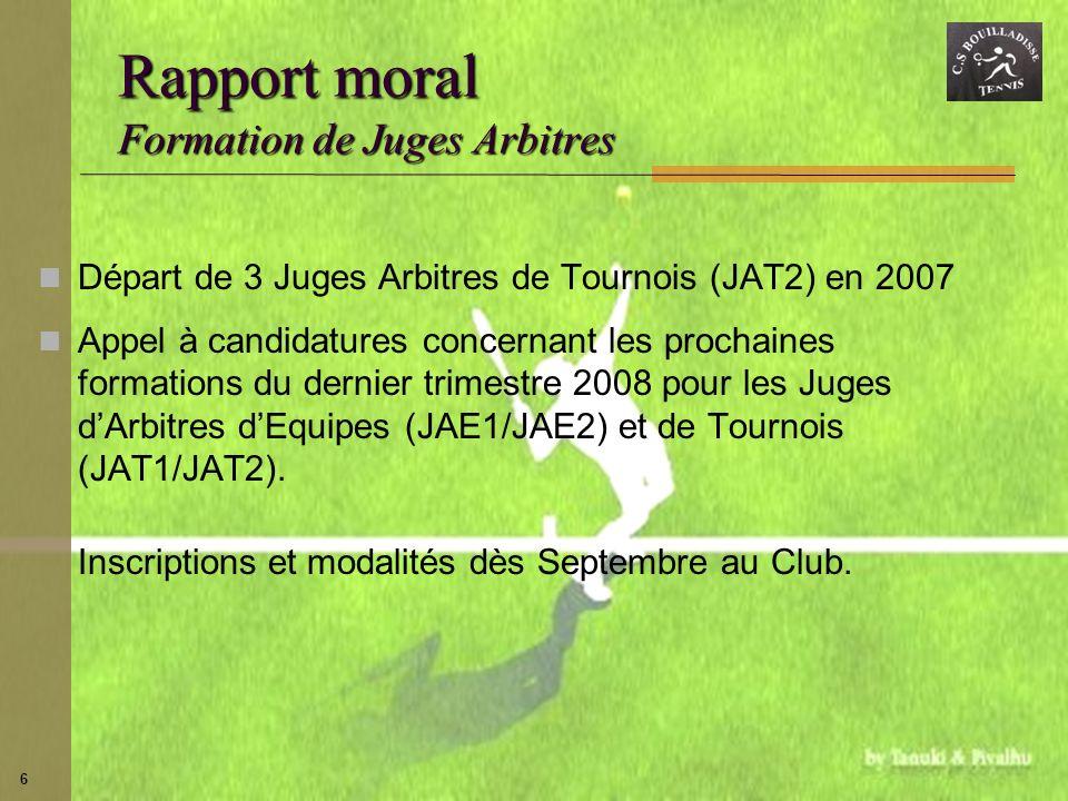 6 Rapport moral Formation de Juges Arbitres Départ de 3 Juges Arbitres de Tournois (JAT2) en 2007 Appel à candidatures concernant les prochaines forma