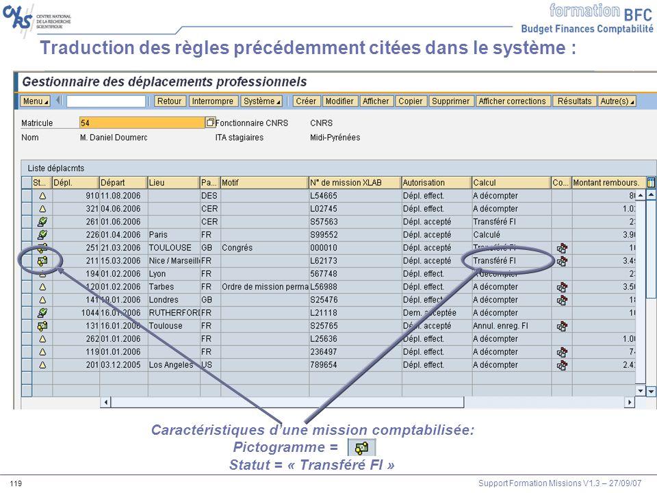 Support Formation Missions V1.3 – 27/09/07 119 Traduction des règles précédemment citées dans le système : Caractéristiques dune mission comptabilisée