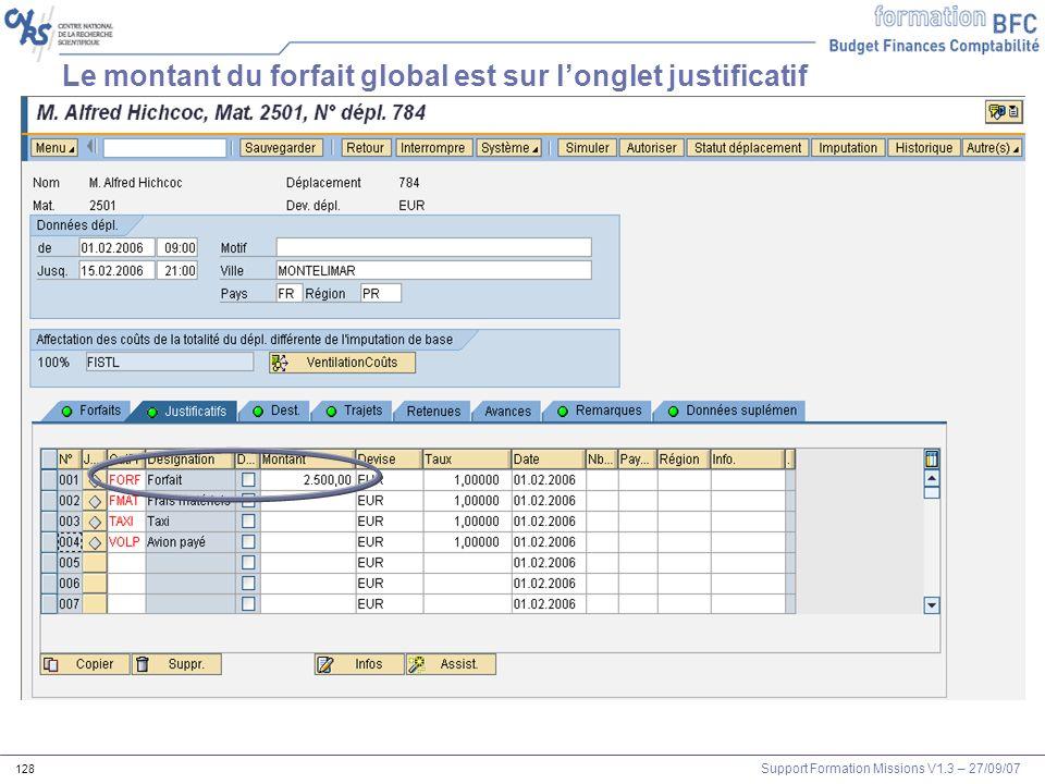 Support Formation Missions V1.3 – 27/09/07 128 Le montant du forfait global est sur longlet justificatif