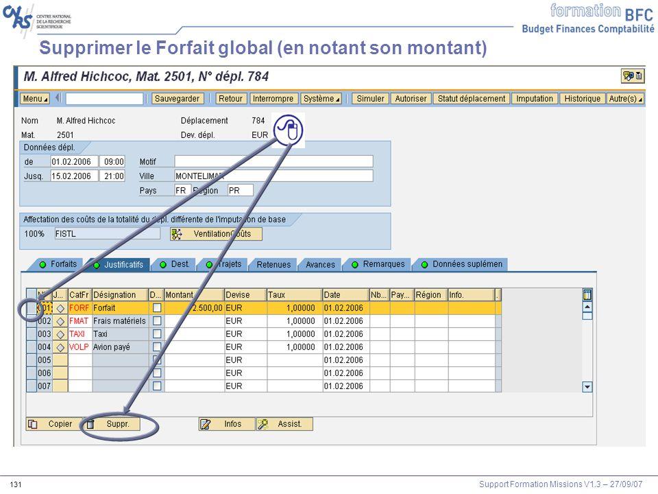 Support Formation Missions V1.3 – 27/09/07 131 Supprimer le Forfait global (en notant son montant)