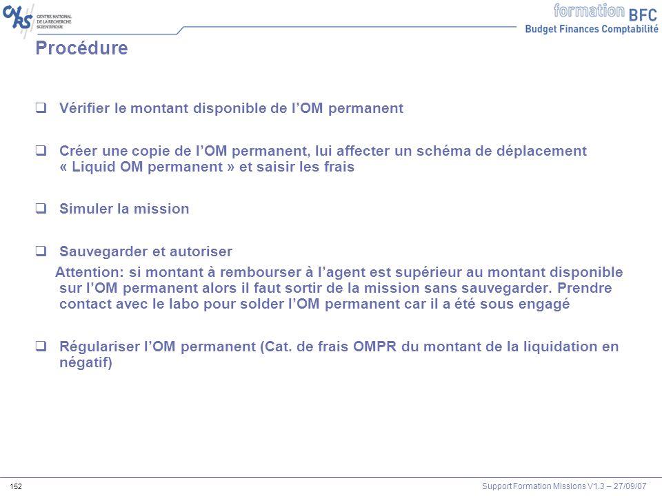 Support Formation Missions V1.3 – 27/09/07 152 Vérifier le montant disponible de lOM permanent Créer une copie de lOM permanent, lui affecter un schém