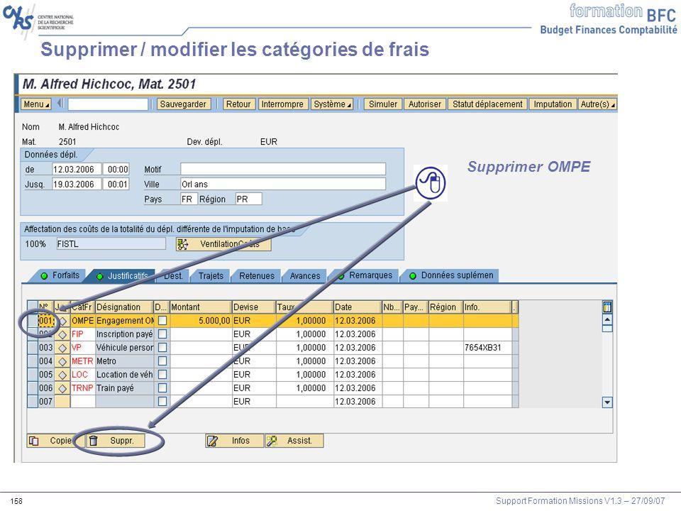 Support Formation Missions V1.3 – 27/09/07 158 Supprimer / modifier les catégories de frais Supprimer OMPE