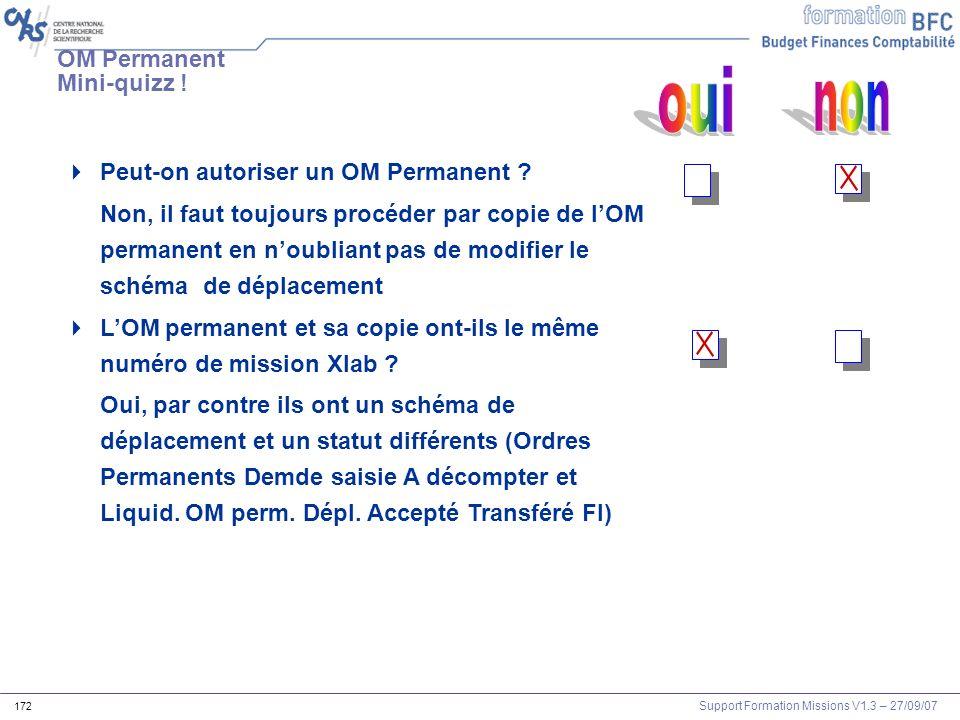 Support Formation Missions V1.3 – 27/09/07 172 Peut-on autoriser un OM Permanent ? Non, il faut toujours procéder par copie de lOM permanent en noubli