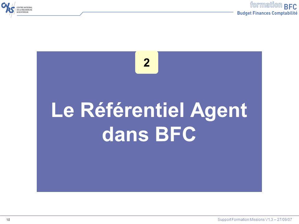 Support Formation Missions V1.3 – 27/09/07 18 Le Référentiel Agent dans BFC 2