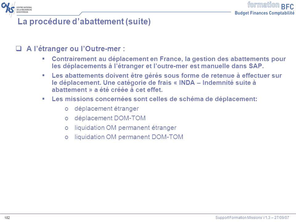 Support Formation Missions V1.3 – 27/09/07 182 La procédure dabattement (suite) A létranger ou lOutre-mer : Contrairement au déplacement en France, la