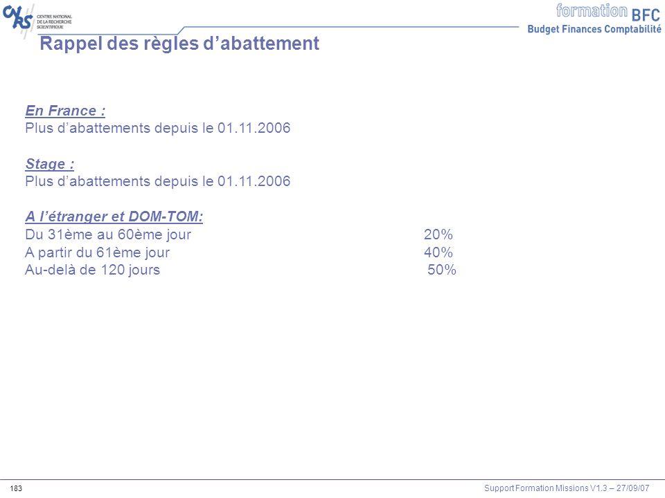 Support Formation Missions V1.3 – 27/09/07 183 Rappel des règles dabattement En France : Plus dabattements depuis le 01.11.2006 Stage : Plus dabatteme