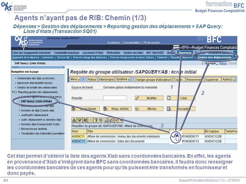Support Formation Missions V1.3 – 27/09/07 211 Agents nayant pas de RIB: Chemin (1/3) 1 2 3 Dépenses > Gestion des déplacements > Reporting gestion de