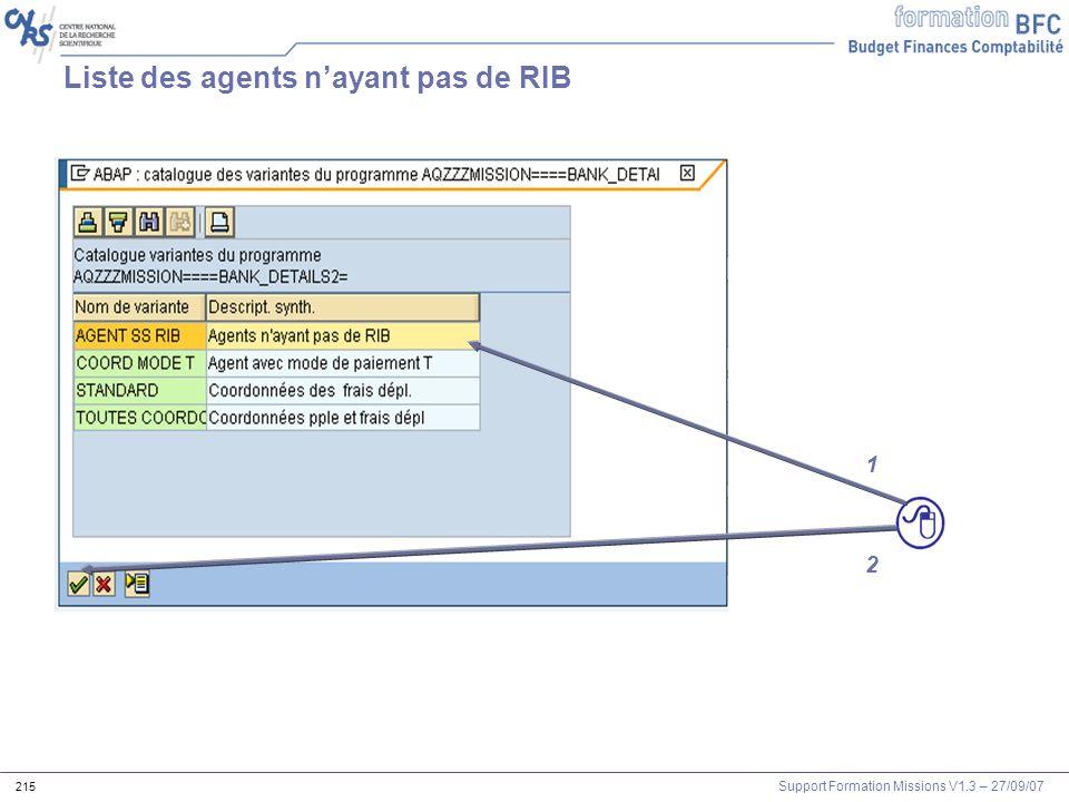 Support Formation Missions V1.3 – 27/09/07 215 Liste des agents nayant pas de RIB 1 2
