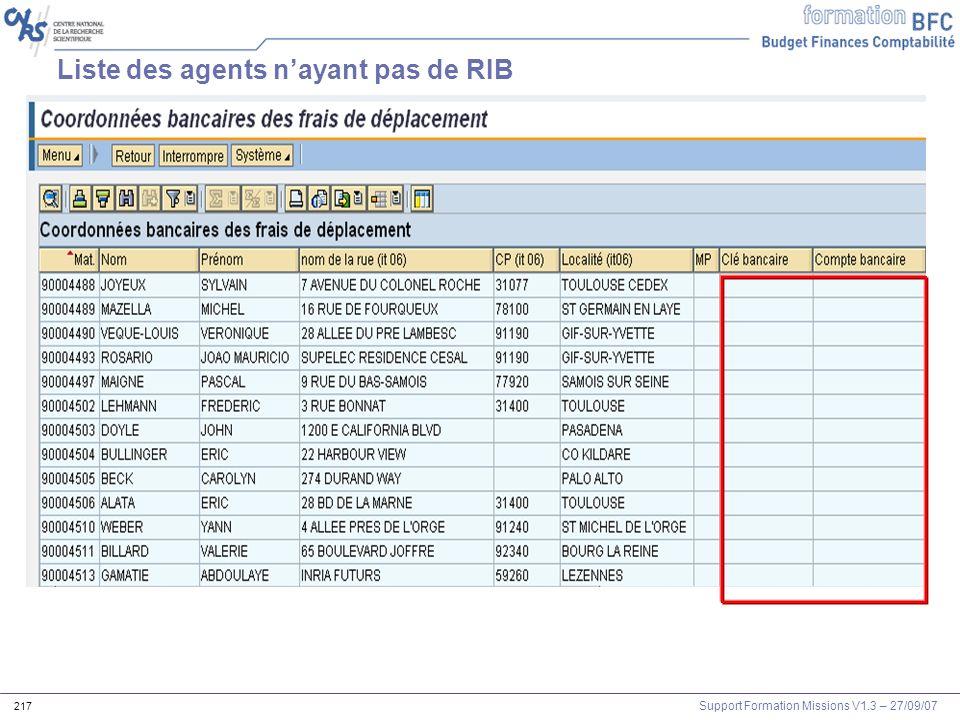 Support Formation Missions V1.3 – 27/09/07 217 Liste des agents nayant pas de RIB