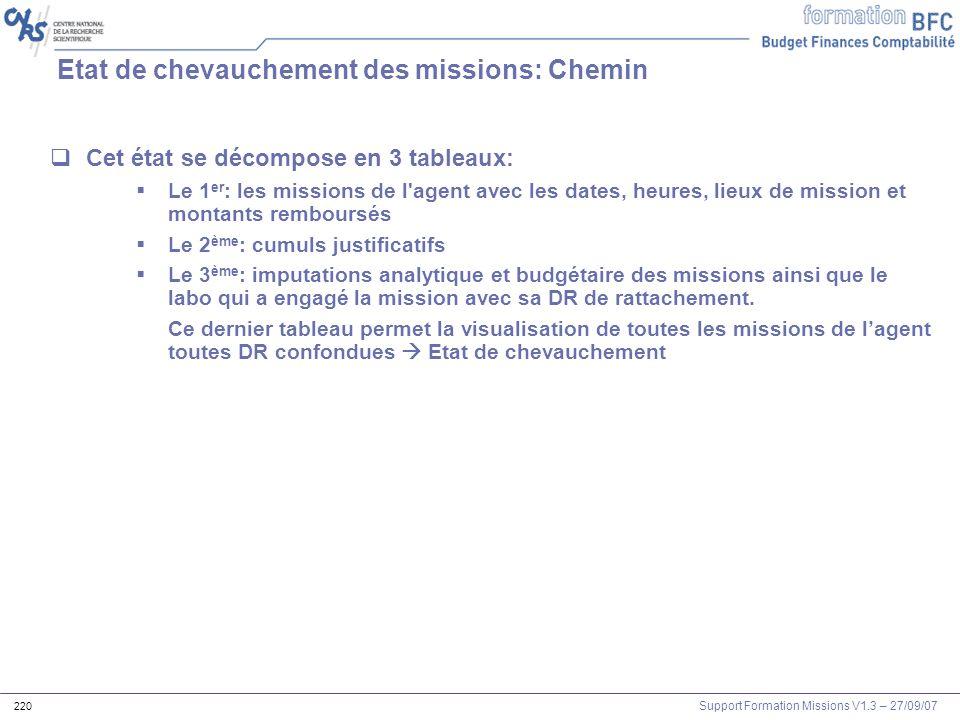 Support Formation Missions V1.3 – 27/09/07 220 Cet état se décompose en 3 tableaux: Le 1 er : les missions de l'agent avec les dates, heures, lieux de