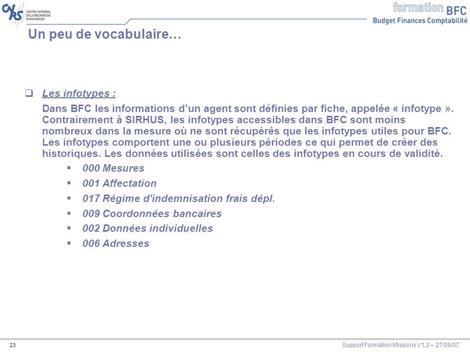 Support Formation Missions V1.3 – 27/09/07 23 Un peu de vocabulaire… Les infotypes : Dans BFC les informations dun agent sont définies par fiche, appe