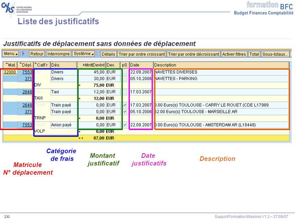Support Formation Missions V1.3 – 27/09/07 230 Liste des justificatifs Matricule N° déplacement Catégorie de frais Montant justificatif Date justifica