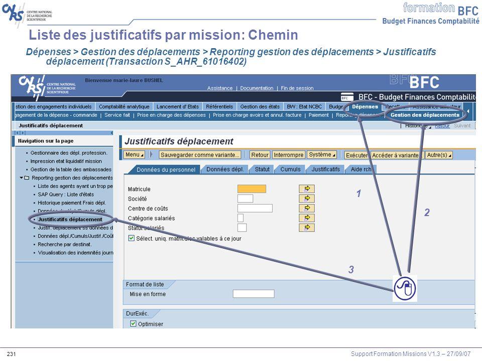 Support Formation Missions V1.3 – 27/09/07 231 Liste des justificatifs par mission: Chemin 1 2 3 Dépenses > Gestion des déplacements > Reporting gesti