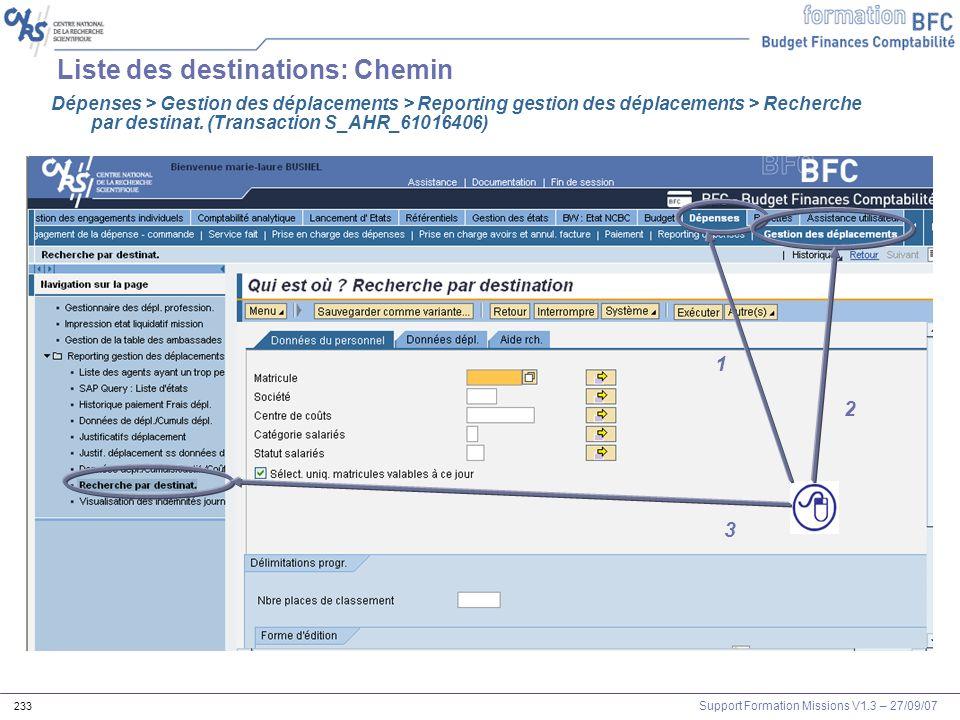 Support Formation Missions V1.3 – 27/09/07 233 Liste des destinations: Chemin Dépenses > Gestion des déplacements > Reporting gestion des déplacements