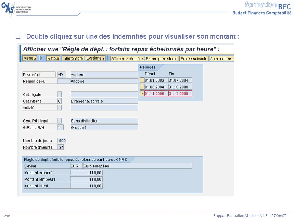 Support Formation Missions V1.3 – 27/09/07 249 Double cliquez sur une des indemnités pour visualiser son montant :