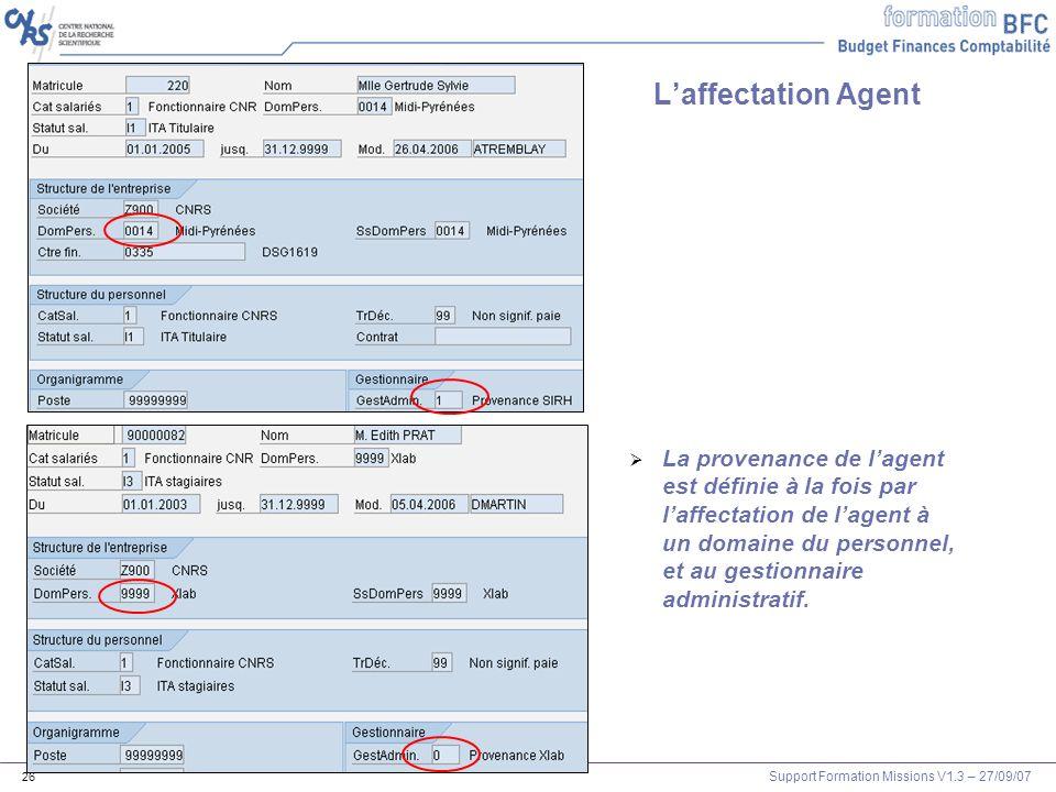 Support Formation Missions V1.3 – 27/09/07 26 La provenance de lagent est définie à la fois par laffectation de lagent à un domaine du personnel, et a