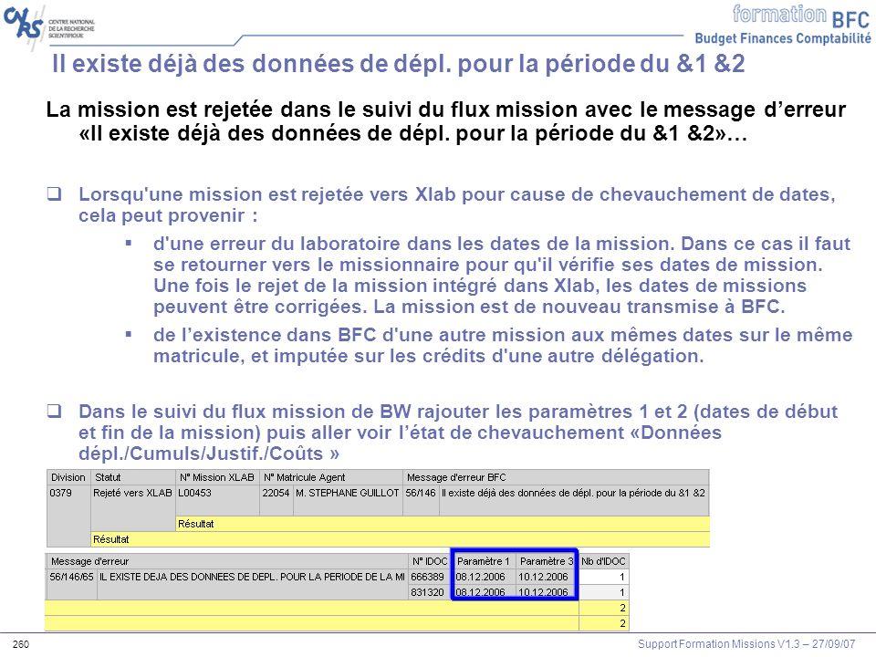 Support Formation Missions V1.3 – 27/09/07 260 Il existe déjà des données de dépl. pour la période du &1 &2 La mission est rejetée dans le suivi du fl