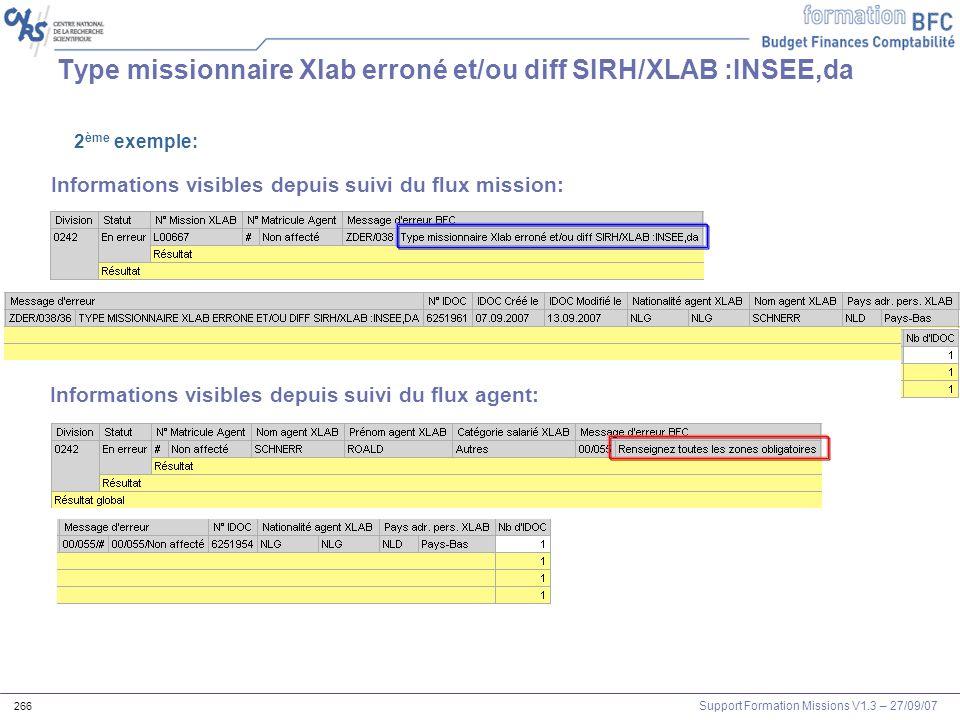 Support Formation Missions V1.3 – 27/09/07 266 Type missionnaire Xlab erroné et/ou diff SIRH/XLAB :INSEE,da 2 ème exemple: Informations visibles depui