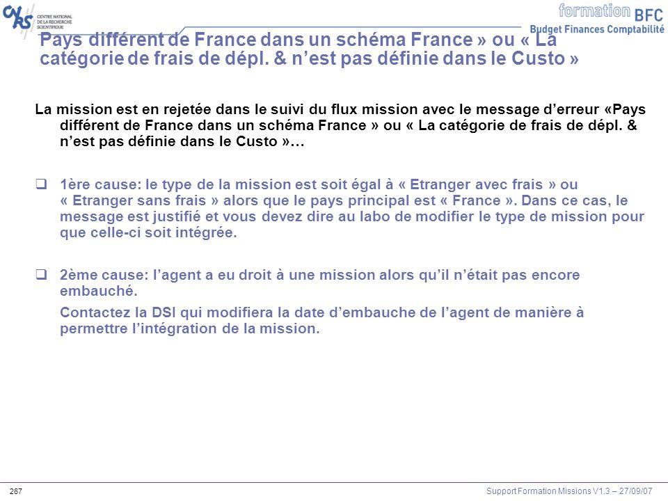 Support Formation Missions V1.3 – 27/09/07 267 Pays différent de France dans un schéma France » ou « La catégorie de frais de dépl. & nest pas définie