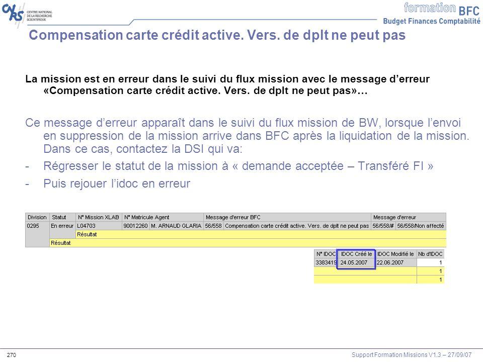 Support Formation Missions V1.3 – 27/09/07 270 Compensation carte crédit active. Vers. de dplt ne peut pas La mission est en erreur dans le suivi du f