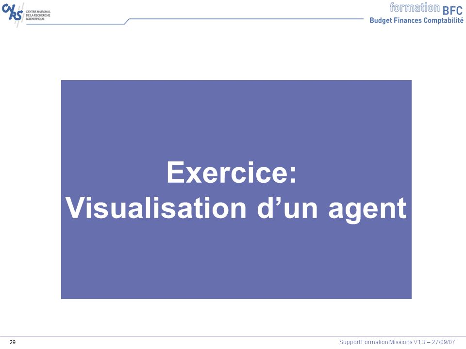 Support Formation Missions V1.3 – 27/09/07 29 Exercice: Visualisation dun agent