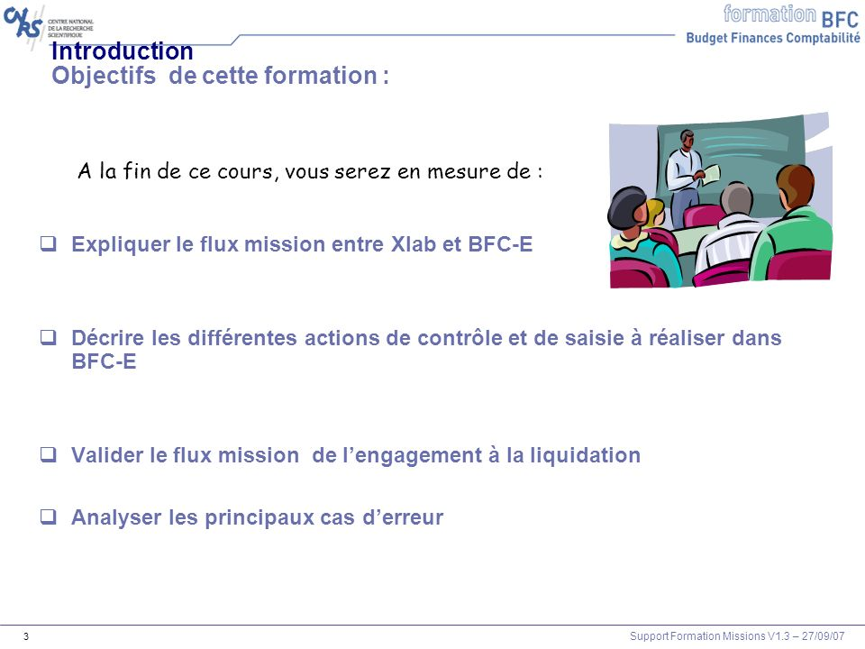 Support Formation Missions V1.3 – 27/09/07 14 XLAB EAI Mission intégrée Agent session BFCE Chronologie du flux mission session À linitiative du labo Sens Xlab -> BFC 2 / jour BW comptabilisation Mission réglée Saisie frais rééls /liquidation idocs MAJ BW 2 / jour 01h et 13h Missions Intégré En erreur Rejeté vers xlab Agents Intégré En erreur Sens BFC -> Xlab Mission liquidée ECC Règlement 23h3 0 12h Mission agent