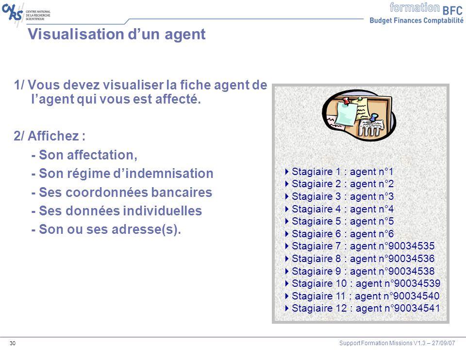 Support Formation Missions V1.3 – 27/09/07 30 Visualisation dun agent 1/ Vous devez visualiser la fiche agent de lagent qui vous est affecté. 2/ Affic