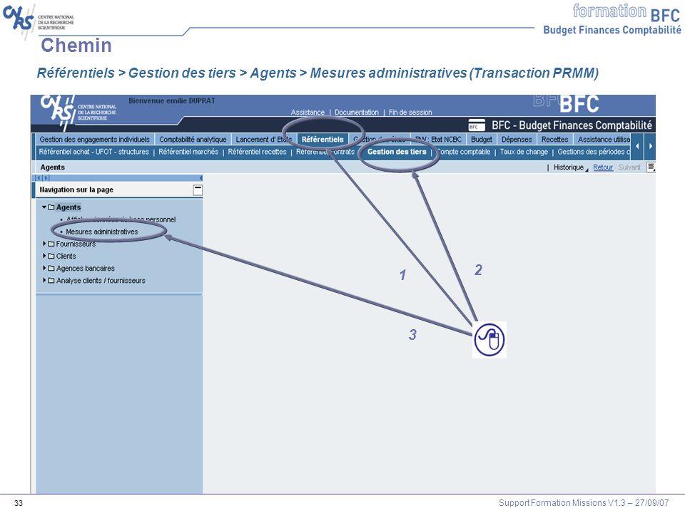 Support Formation Missions V1.3 – 27/09/07 33 Chemin 2 1 3 Référentiels > Gestion des tiers > Agents > Mesures administratives (Transaction PRMM)
