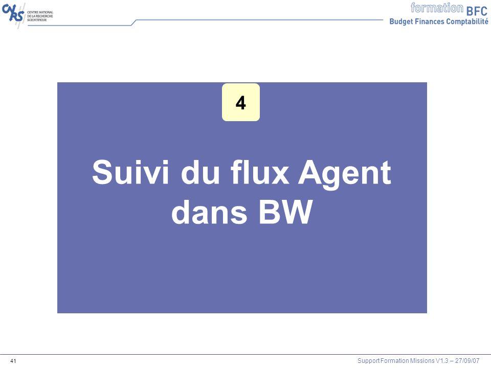 Support Formation Missions V1.3 – 27/09/07 41 Suivi du flux Agent dans BW 4