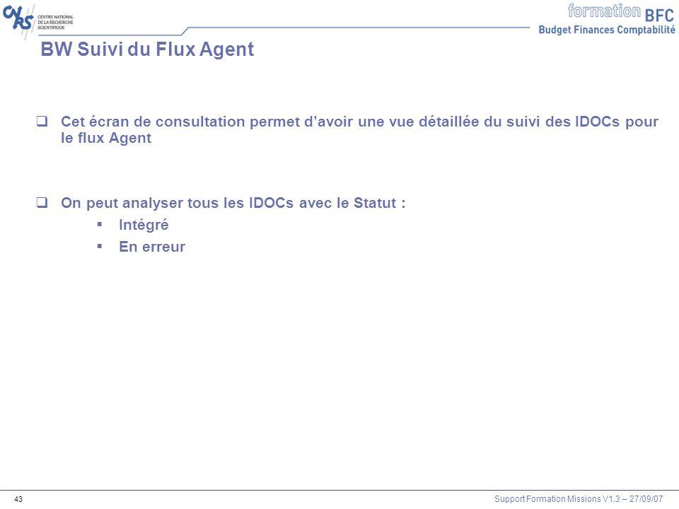 Support Formation Missions V1.3 – 27/09/07 43 BW Suivi du Flux Agent Cet écran de consultation permet davoir une vue détaillée du suivi des IDOCs pour
