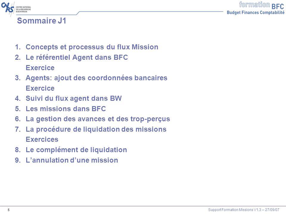 Support Formation Missions V1.3 – 27/09/07 5 Sommaire J1 1.Concepts et processus du flux Mission 2.Le référentiel Agent dans BFC Exercice 3.Agents: aj