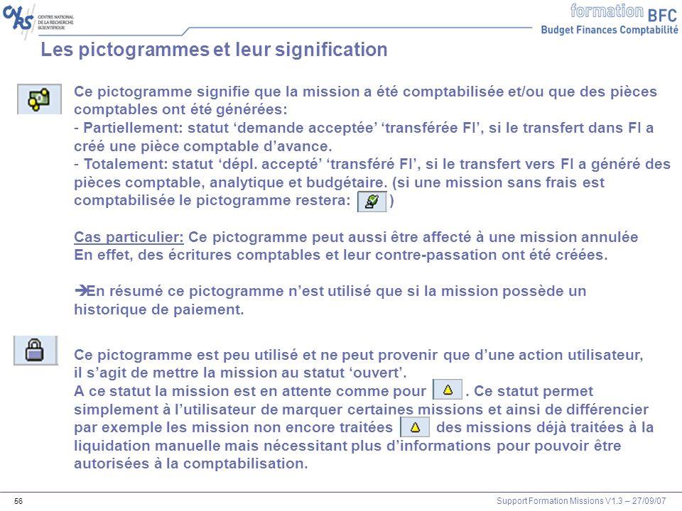 Support Formation Missions V1.3 – 27/09/07 56 Les pictogrammes et leur signification Ce pictogramme signifie que la mission a été comptabilisée et/ou
