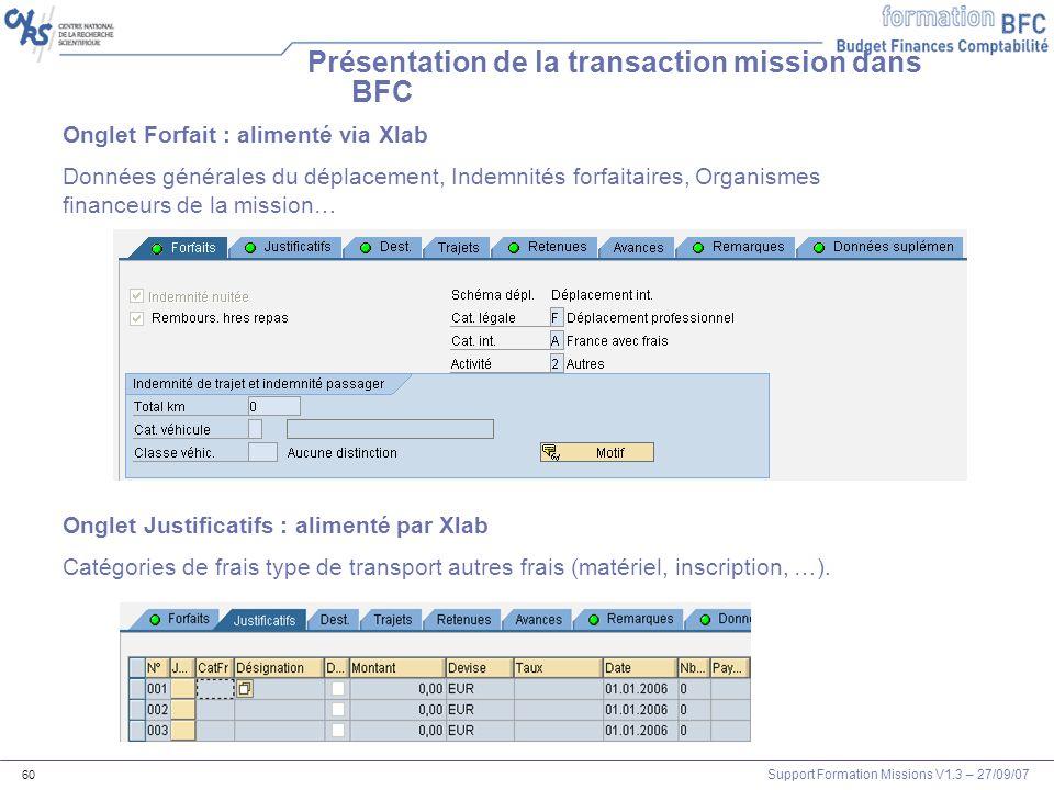 Support Formation Missions V1.3 – 27/09/07 60 Présentation de la transaction mission dans BFC Onglet Forfait : alimenté via Xlab Données générales du