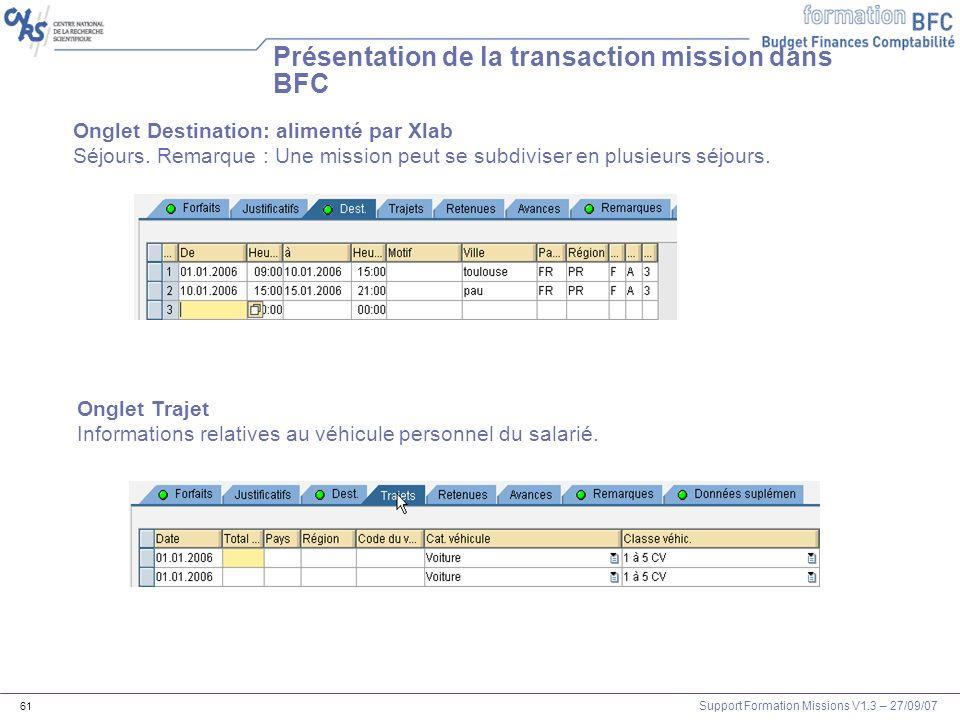 Support Formation Missions V1.3 – 27/09/07 61 Présentation de la transaction mission dans BFC Onglet Destination: alimenté par Xlab Séjours. Remarque