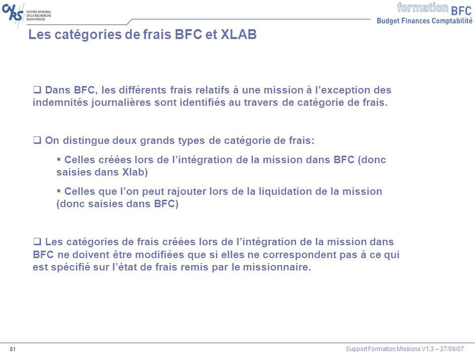 Support Formation Missions V1.3 – 27/09/07 81 Les catégories de frais BFC et XLAB Dans BFC, les différents frais relatifs à une mission à lexception d