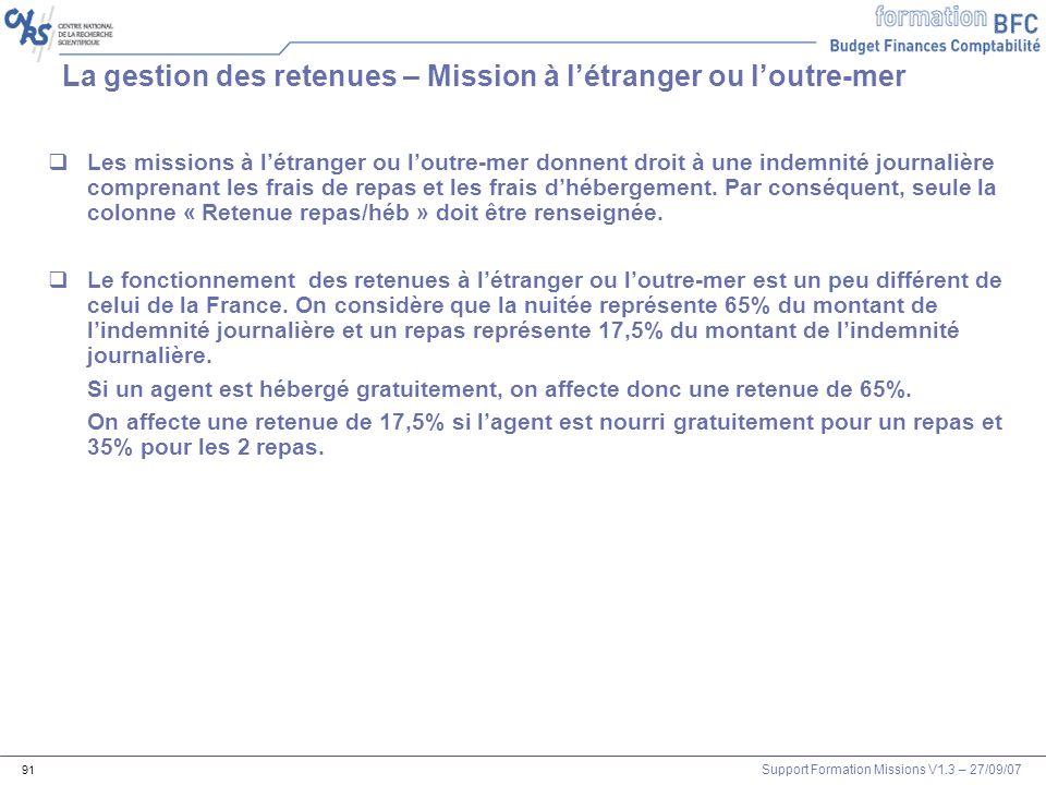 Support Formation Missions V1.3 – 27/09/07 91 La gestion des retenues – Mission à létranger ou loutre-mer Les missions à létranger ou loutre-mer donne
