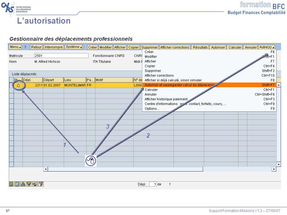 Support Formation Missions V1.3 – 27/09/07 97 Lautorisation 1 2 3