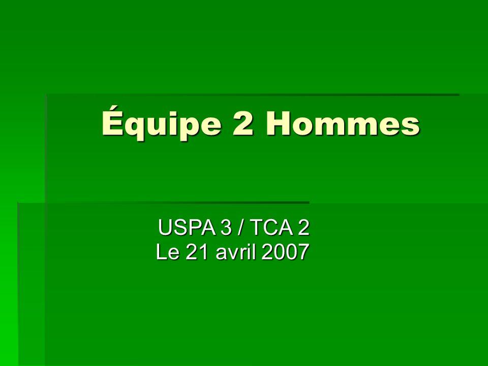 Équipe 2 Hommes Le 21 avril 2007 Le 21 avril 2007 USPA 3 / TCA 2