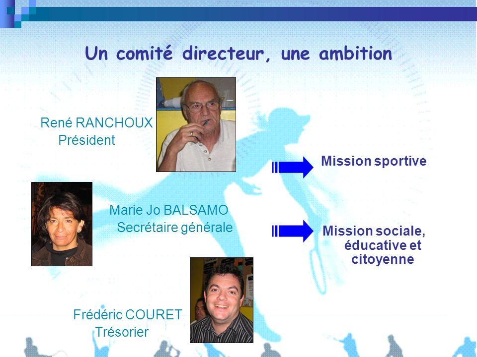 Un comité directeur, une ambition René RANCHOUX Président Marie Jo BALSAMO Secrétaire générale Frédéric COURET Trésorier Mission sportive Mission soci